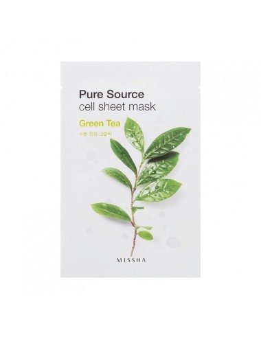 Mascarilla Calmante e Hidratante de algodón MISSHA Pure Source Cell Sheet Mask (Green Tea)