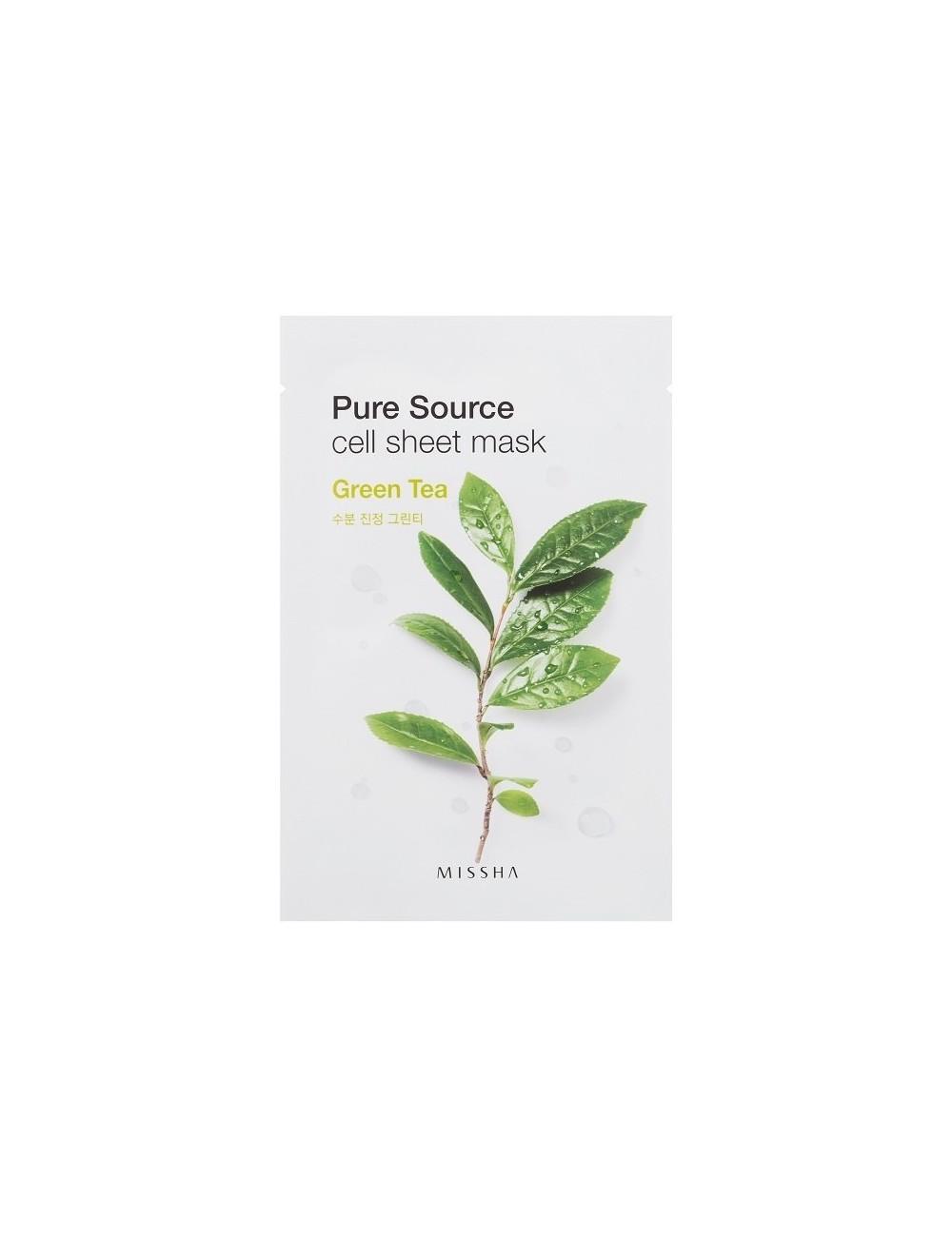 Mascarilla Calmante e Hidratante de algodón MISSHA Pure Source Cell Sheet Mask (Green Tea)