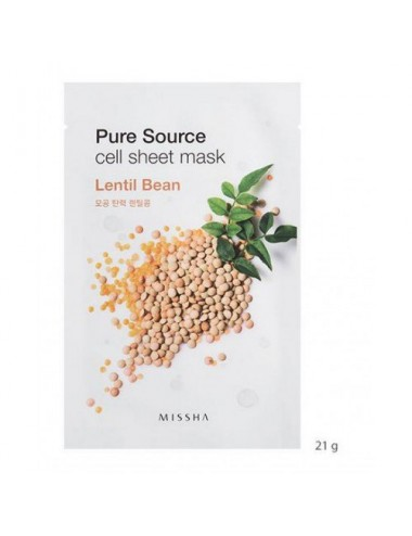 Mascarilla Control de Grasa de algodón MISSHA Pure Source Cell Sheet Mask Lentil Bean (Lentejas)