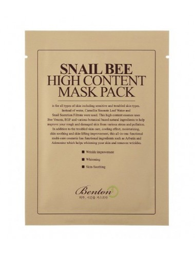 Mascarilla Anti-arrugas y Anti-manchas - Benton Snail Bee High Content Mask Pack