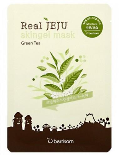 Mascarilla Hidratante Berrisom Real Jeju Skingel Mask Green Tea