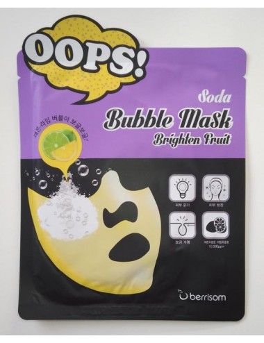 Mascarilla Iluminadora Dilatados Berrisom Soda Bubble Mask Brighten Fruit
