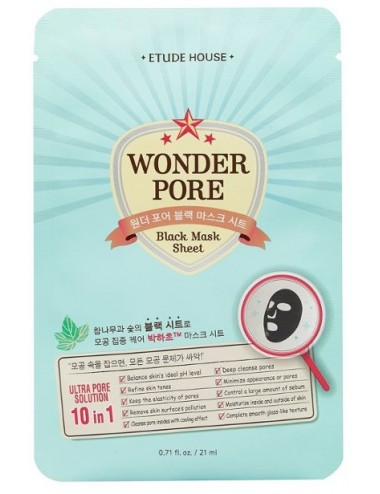 Mascarilla Piel Grasa Etude House Wonder Pore Black Mask Sheet