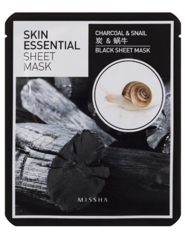 Mascarilla Reafirmante y Purificante Missha Skin Essential Sheet Mask Charcoal & Snail