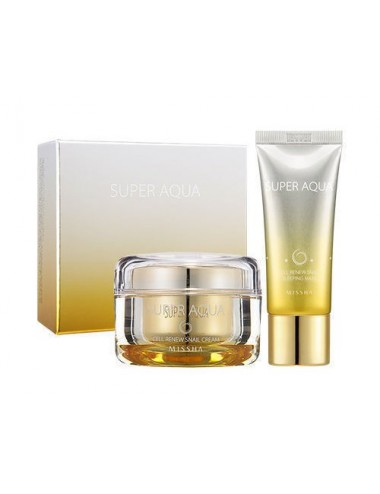 Set Crema Reafirmante + Sleeping Mask Super Aqua Cell Renew Snail Cream Special Set