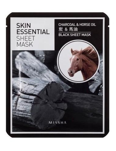 Mascarilla Hidratante y Purificante Missha Skin Essential Sheet Mask Charcoal & Horse Oil
