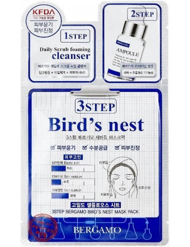 Mascarilla 3 pasos Hidratante y Calmante Bergamo 3 Step Bird's Nest Mask Pack