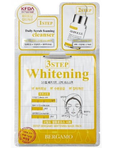 Mascarilla 3 pasos Iluminadora e Hidratante Bergamo 3 Step Whitening Mask Pack