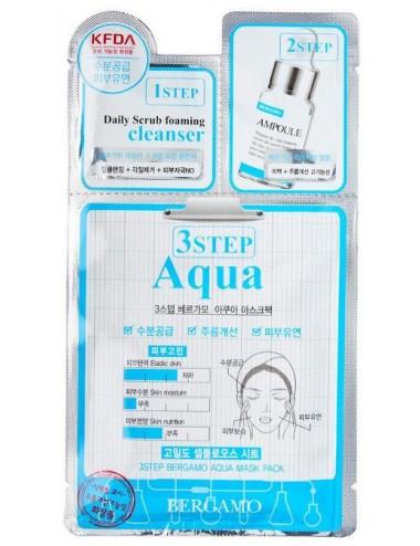 Mascarilla 3 pasos Hidratante y Nutritiva  Bergamo 3 Step Aqua Mask Pack