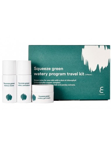 Tónico, emulsión y crema E nature Squeeze Green Watery Program Travel Kit
