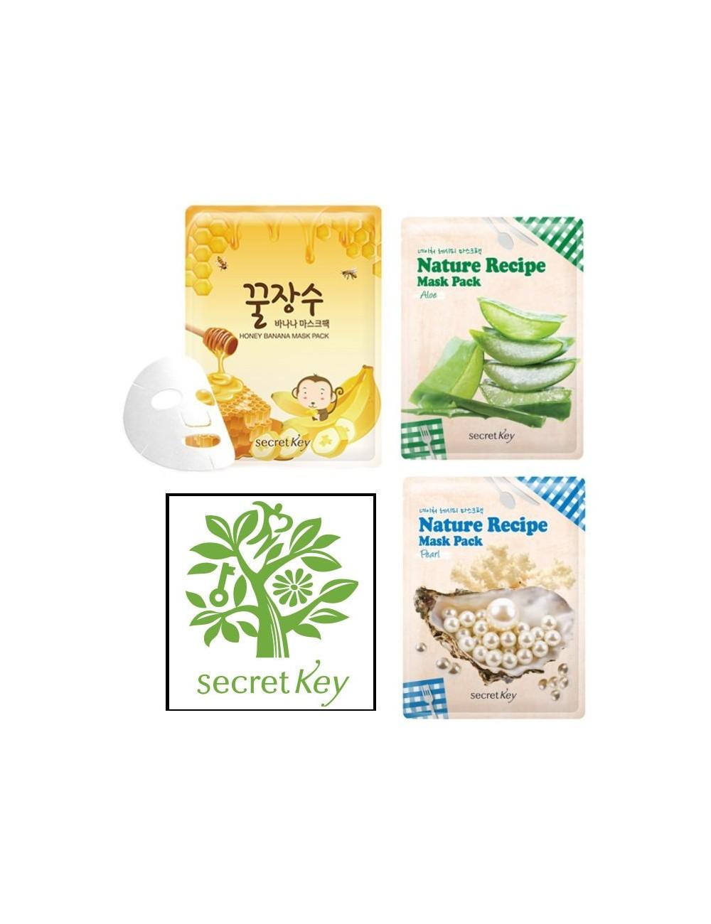 Pack de 3 Mascarillas Coreanas Secret Key Nature Recipe Mask Pack