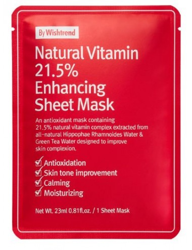 Mascarilla con Vitamina C  By Wishtrend Natural Vitamin 21.5% Enhancing Sheet Mask