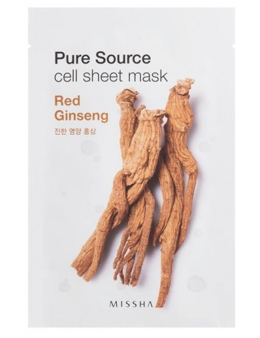 Mascarilla Revitalizante de Ginseng MISSHA Pure Source Cell Sheet Mask Red Ginseng