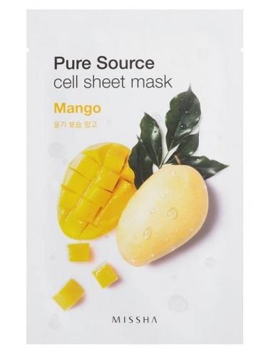 Mascarilla Hidratante de Mango MISSHA Pure Source Cell Sheet Mask Mango