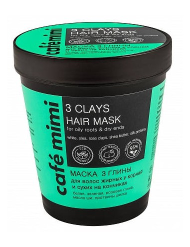 3 Clays Hair Mask Raiz Grasa Puntas Secas