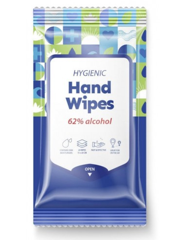 Hygienic Hand Wipes 62% alcohol Toallitas Desinfectantes de Manos