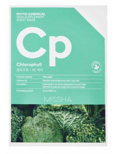 Mascarilla Piel Sensible y con Acné MISSHA Phyto-Chemical Skin Suplement Sheet Mask Cholorophyll