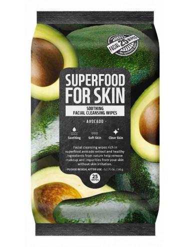 Super Food For Skin Facial Cleansig Wipes Avocado - Toallitas Limpiadoras con aguacate