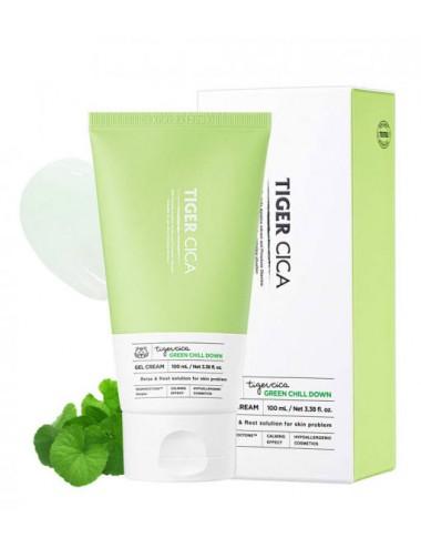 It's Skin Tiger Cica Green Chill Down Gel Cream 100ml Calmante, para piel mixta y grasa