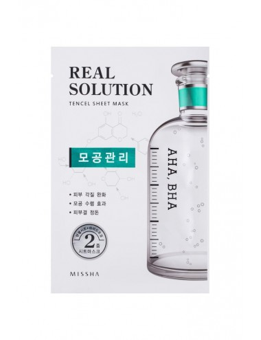 Mascarilla de tratamiento para Poros Dilatados Intensiva con AHA y BHA Real Solution Tencel Sheet Mask AHA, BHA