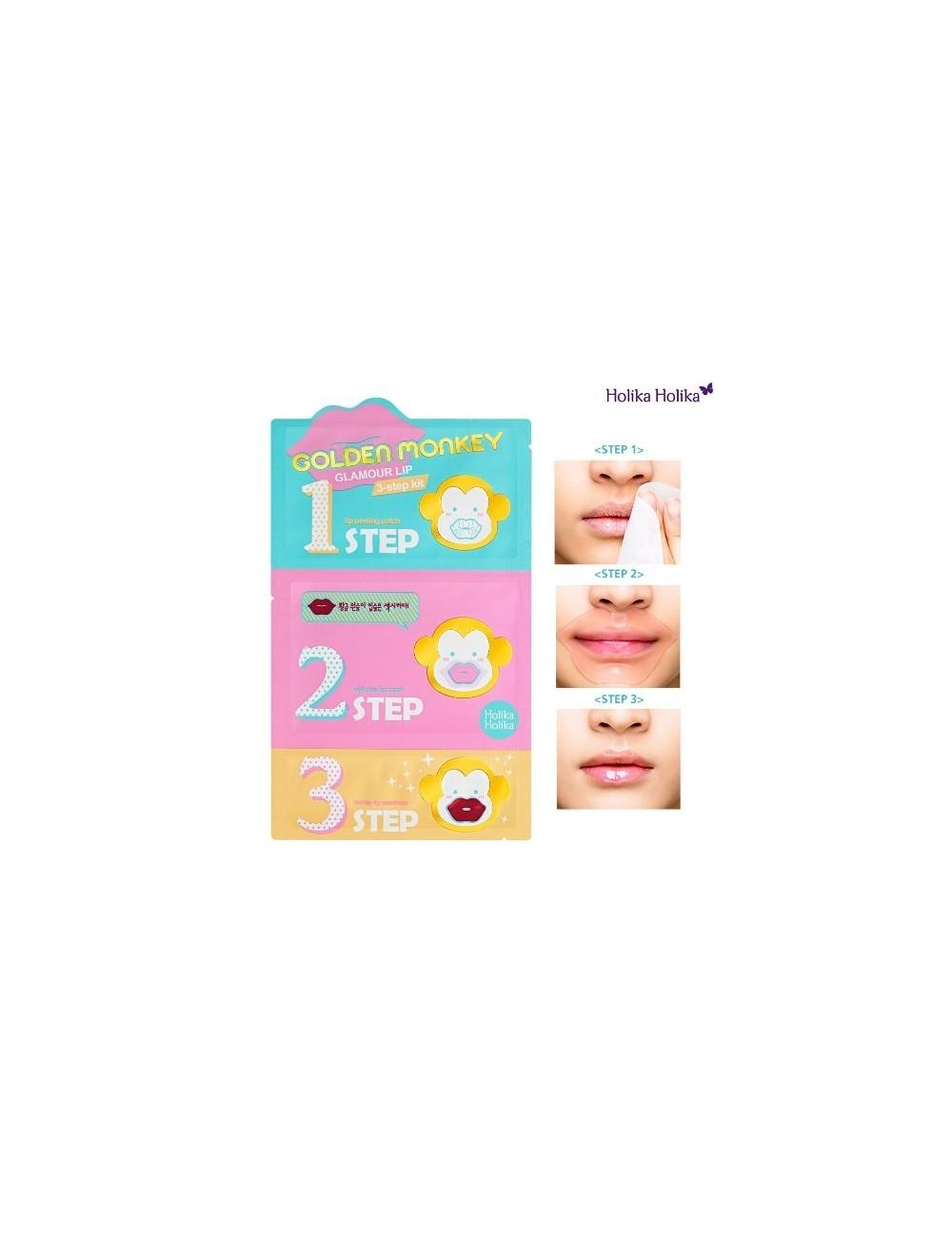 Kit 3 pasos para Labios Secos HoliKa Holika Golden Monkey Glamour Lip