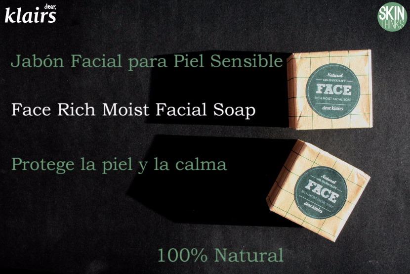 Jabón Facial Piel Sensible Face Rich Moist de Klairs, Cosmética Coreana