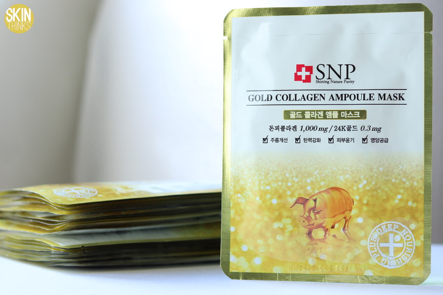 SNP Gold Collagen Ampoule Mask Mascarilla Antiedad Reafirmante