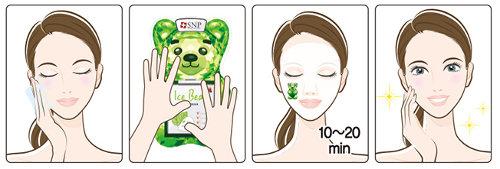 Mascarilla Coreana Calmante para piel grasa y sensible SNP Ice Bear Cica Mask
