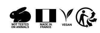 Producto vegano, hecho en Francia, no testado en animales